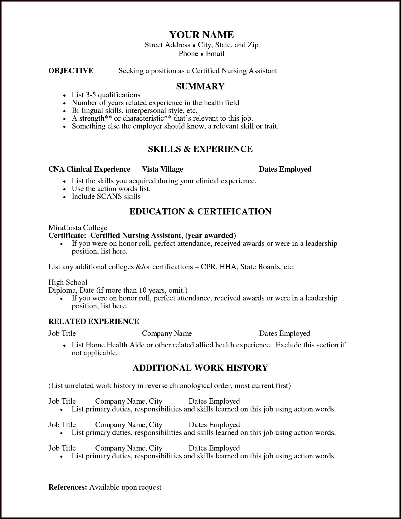 Free Sample Resume For Certified Nursing Assistant