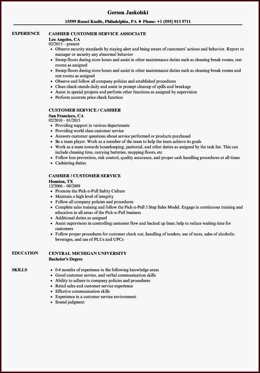 Free Sample Resume For Customer Service Cashier