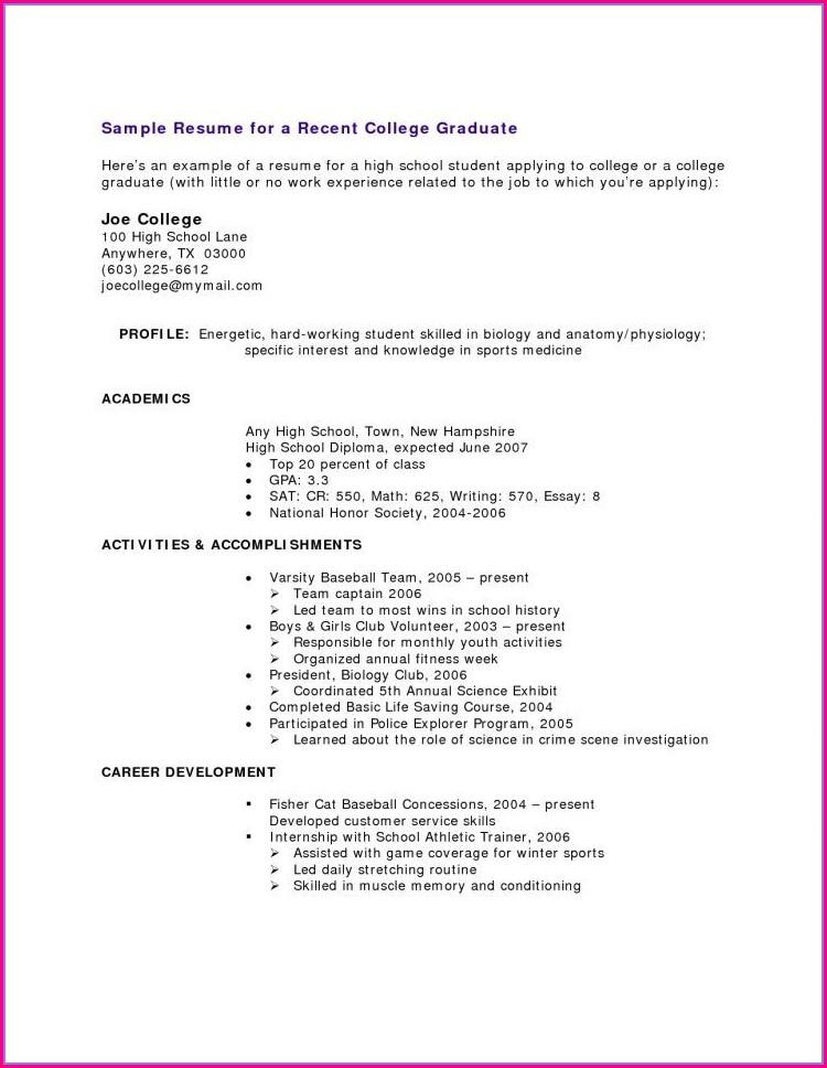 Free Sample Resume For High School Graduate