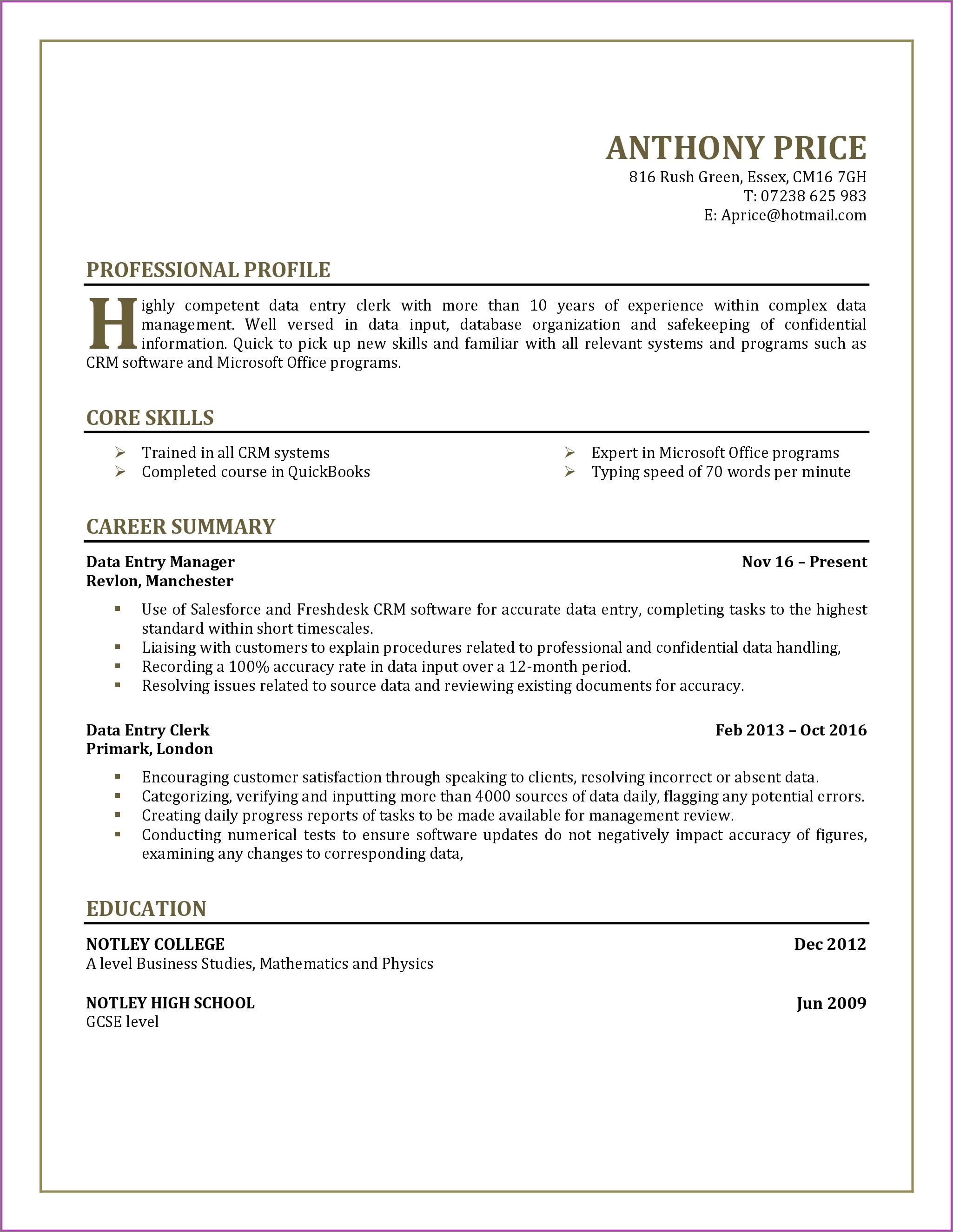 Free Sample Resume For Teachers Pdf
