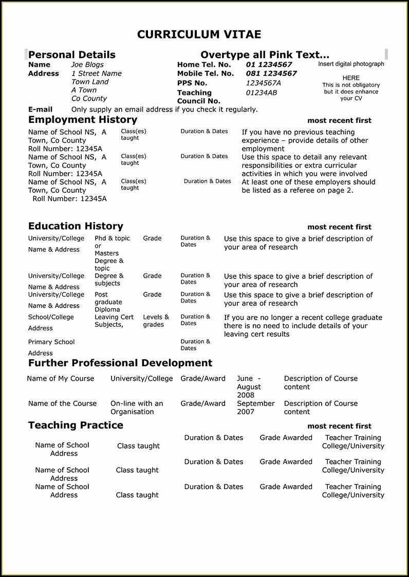 Free Sample Teacher Resume Templates