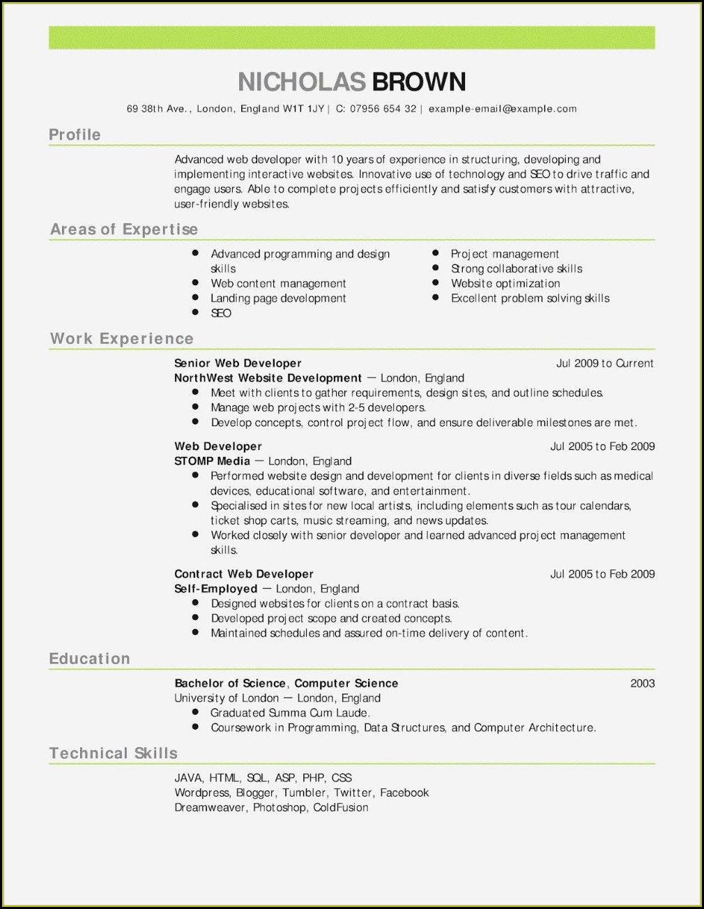Free Teacher Cv Templates