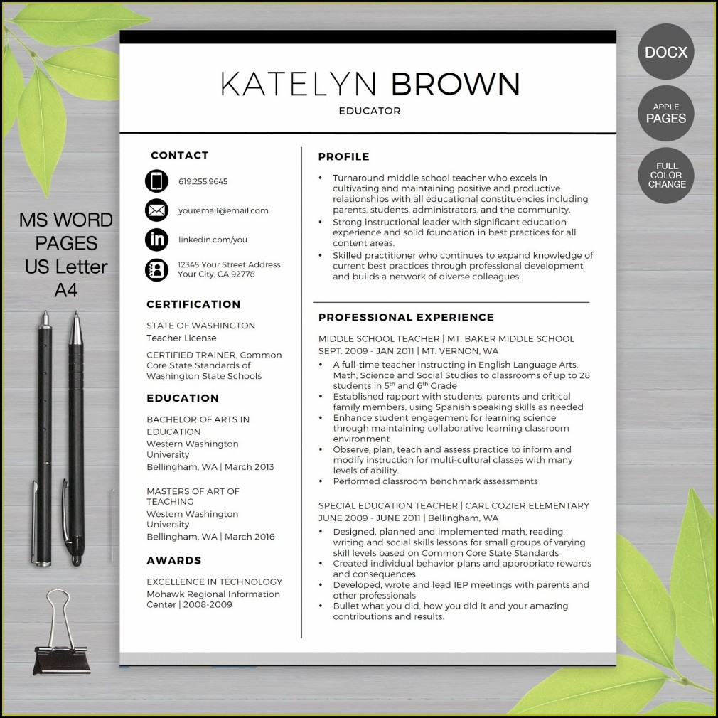 Free Teacher Resume Templates 2019