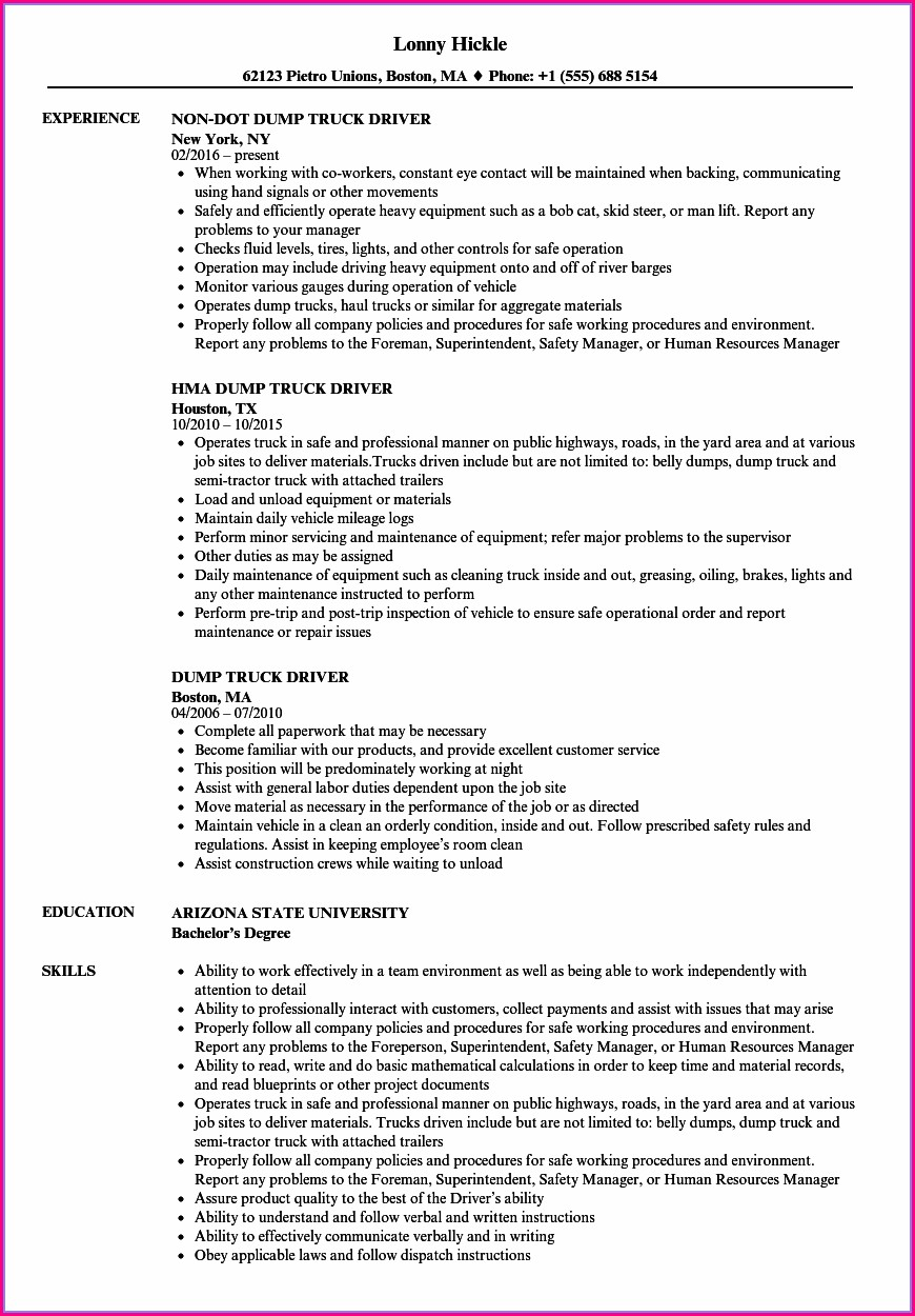 Free Truck Driving Resume Templates