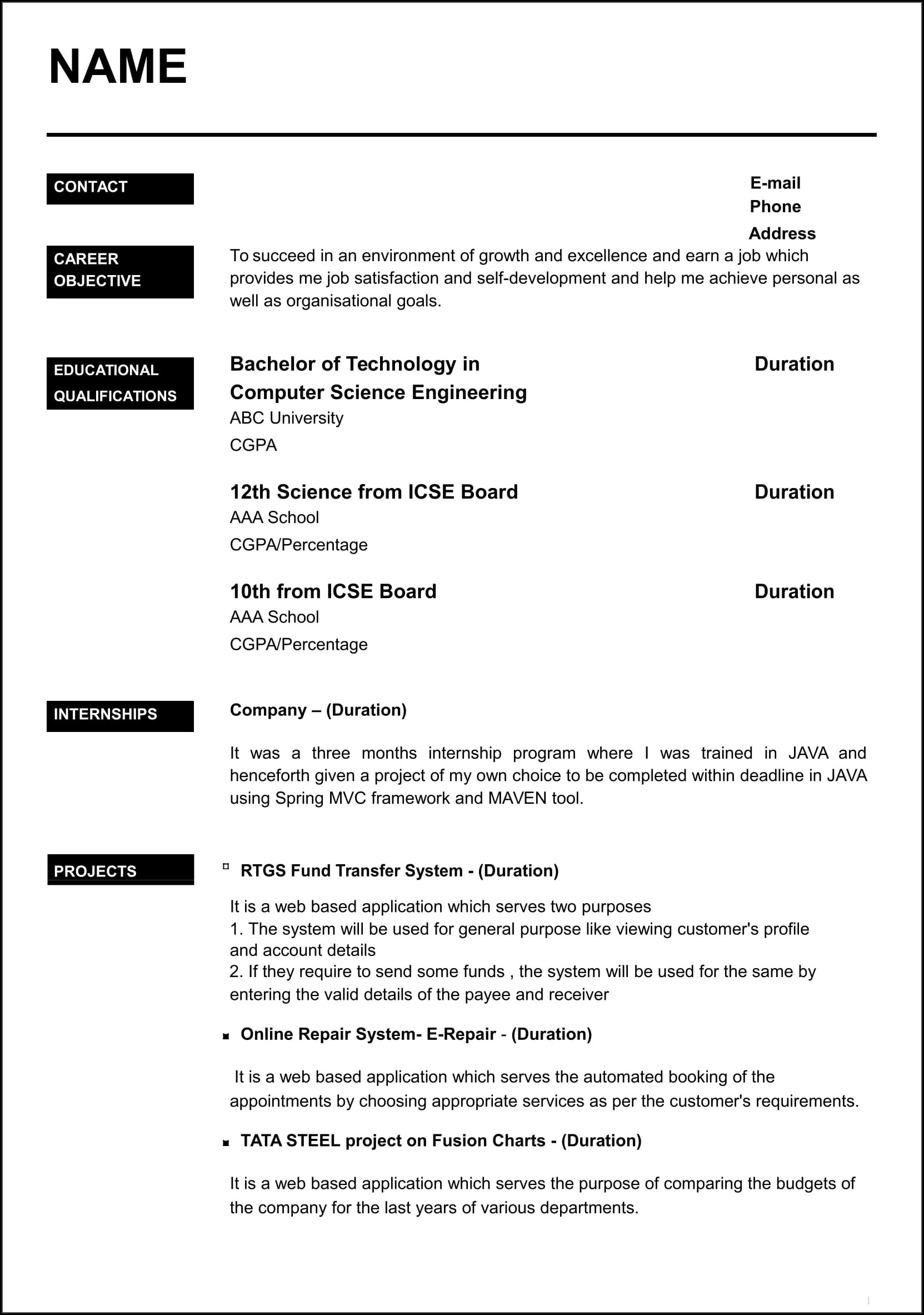Fresh Resume Format Sample Of Resume For Fresher
