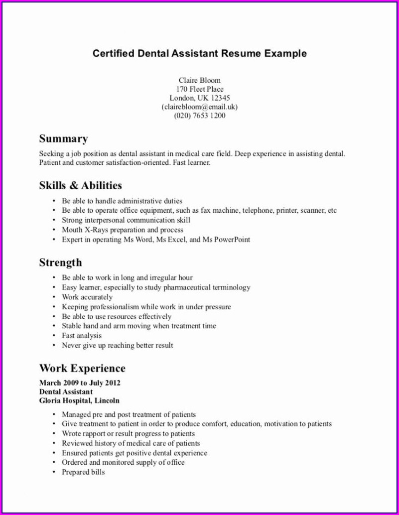 Functional Resume Examples Dental Assistant