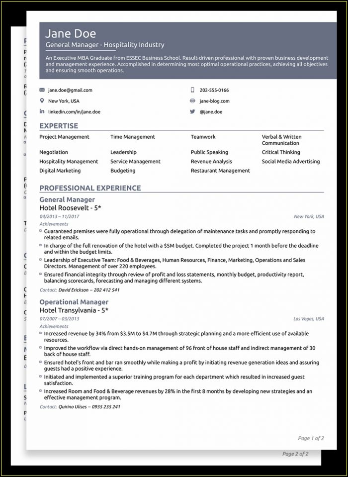Functional Resume Template Free Sample