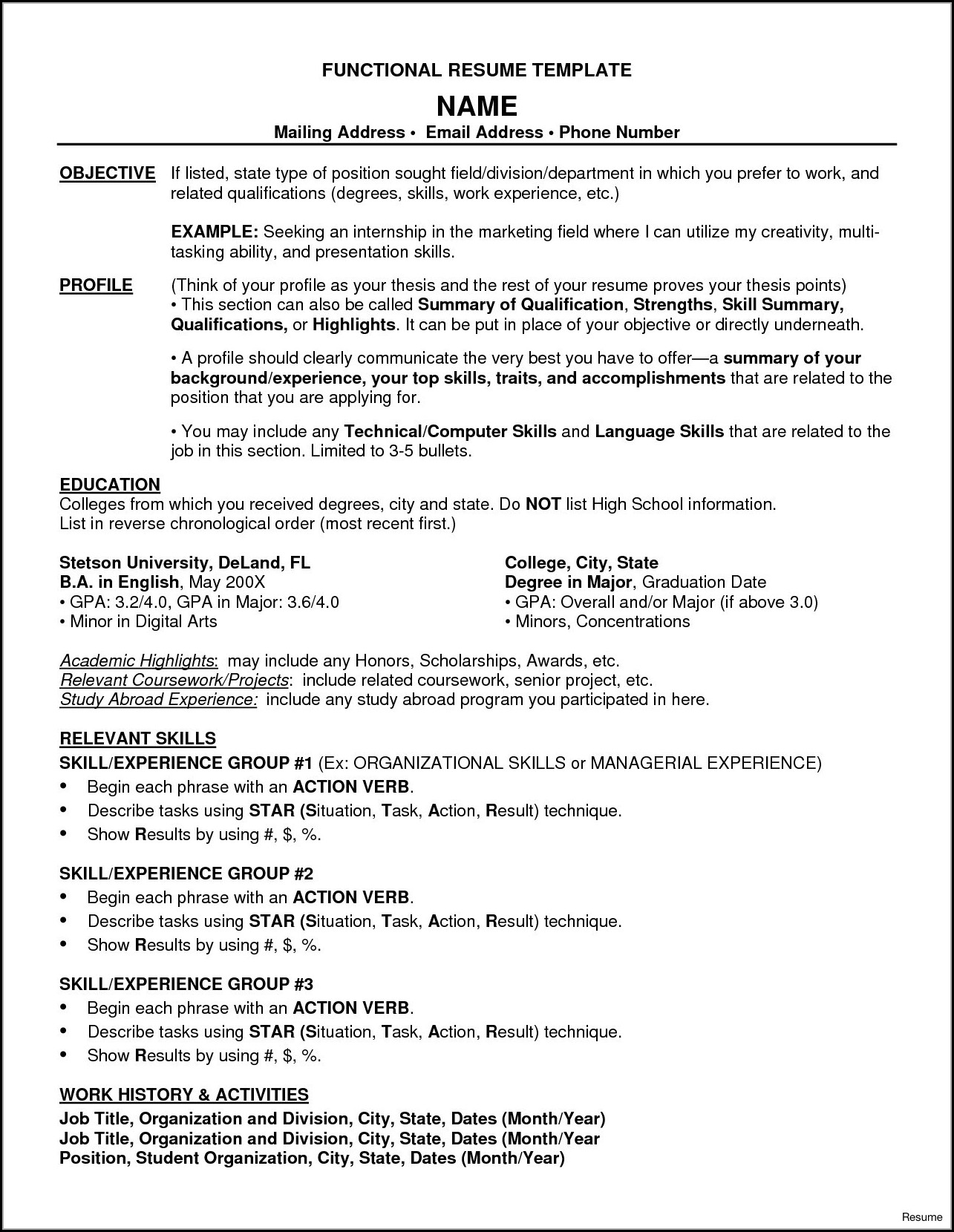 Functional Resume Template Word Free Download