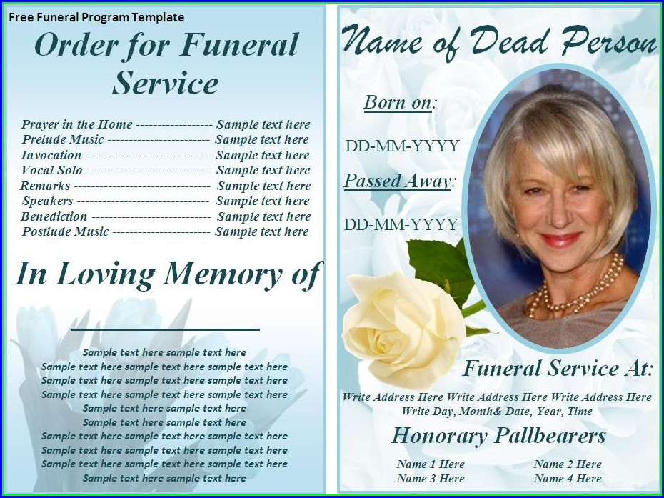 Funeral Pamphlets Templates Free