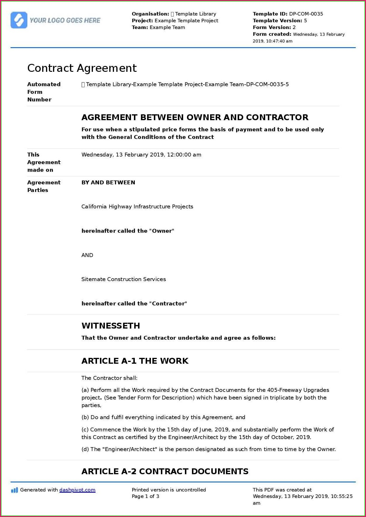 General Agreement Construction Contract Template