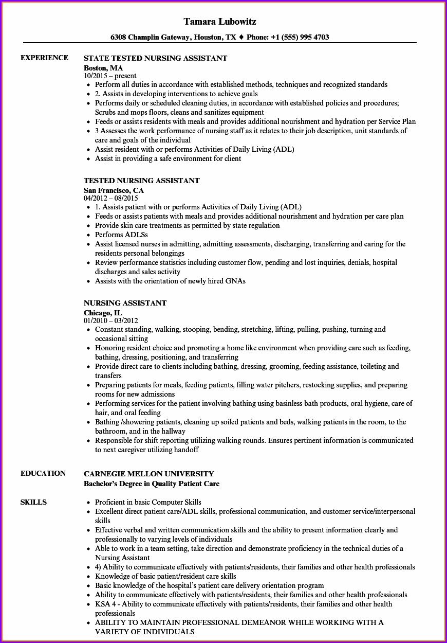 Good Nursing Assistant Resume Samples