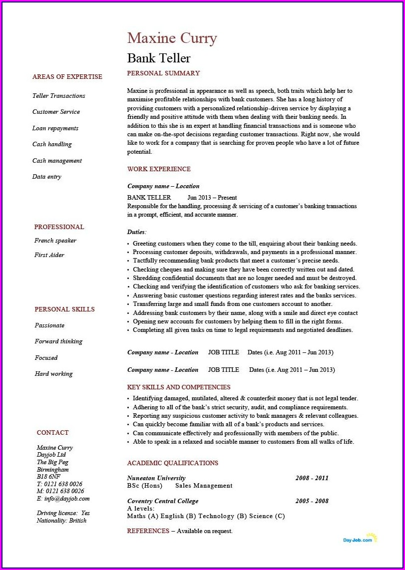 Good Resume For Teller Position