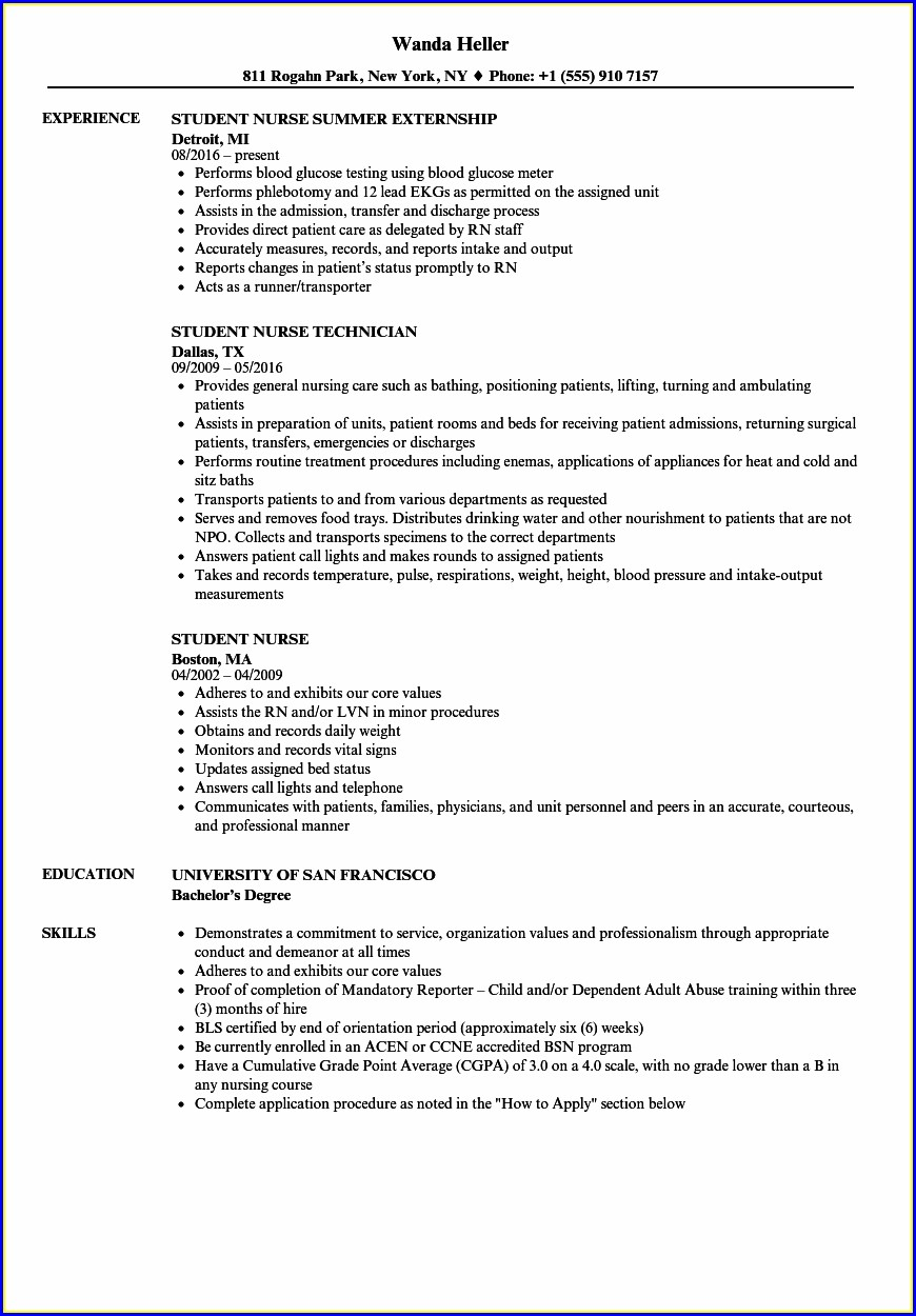 Graduate Nurse Resume Template Free
