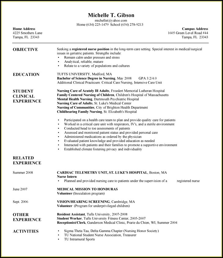 Graduate Registered Nurse Resume Sample Format
