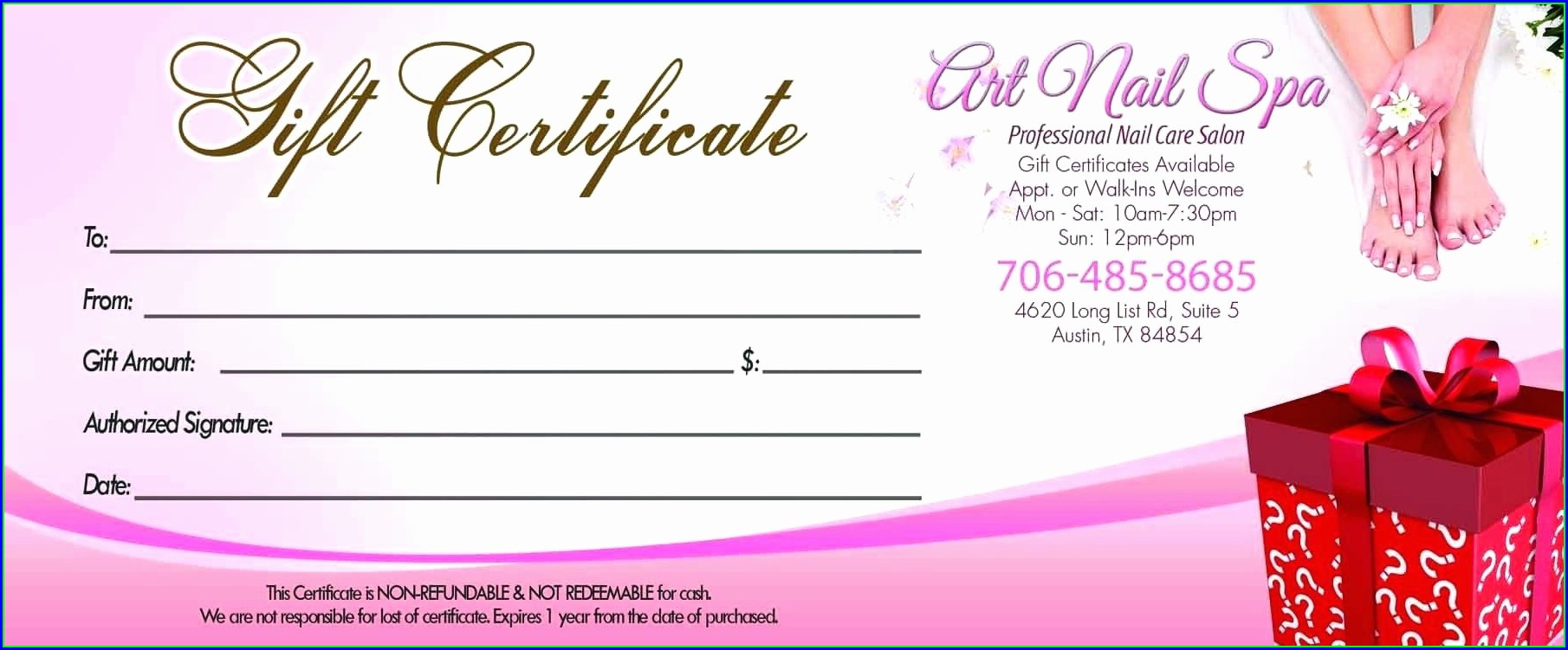 Hair Salon Gift Certificate Template Christmas