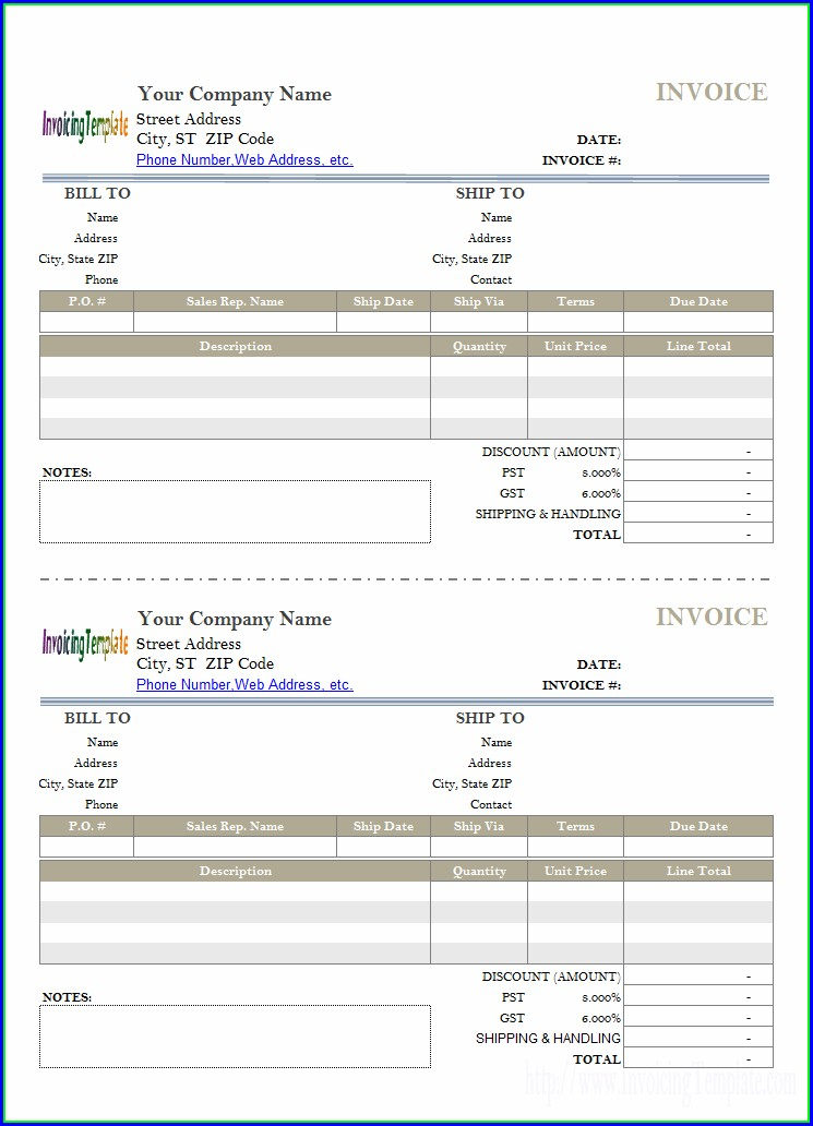 Half Page Invoice Template Excel