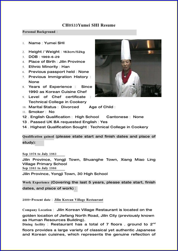 Head Chef Cv Template Uk