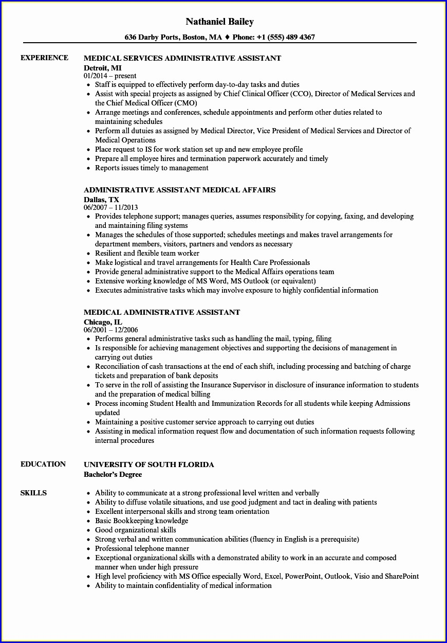 Healthcare Administrative Assistant Resume Sample