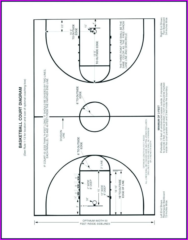 High School Basketball Court Template