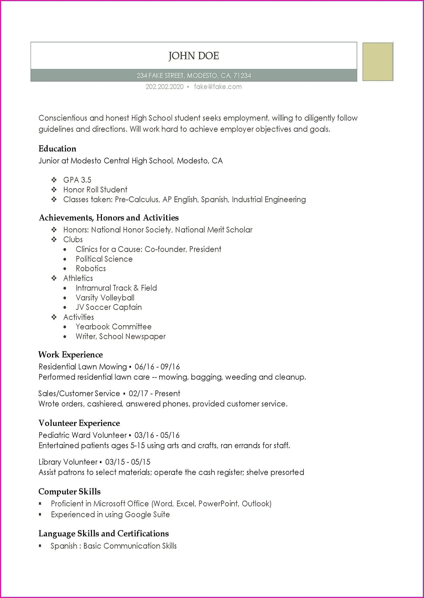 High School Resume Template Doc