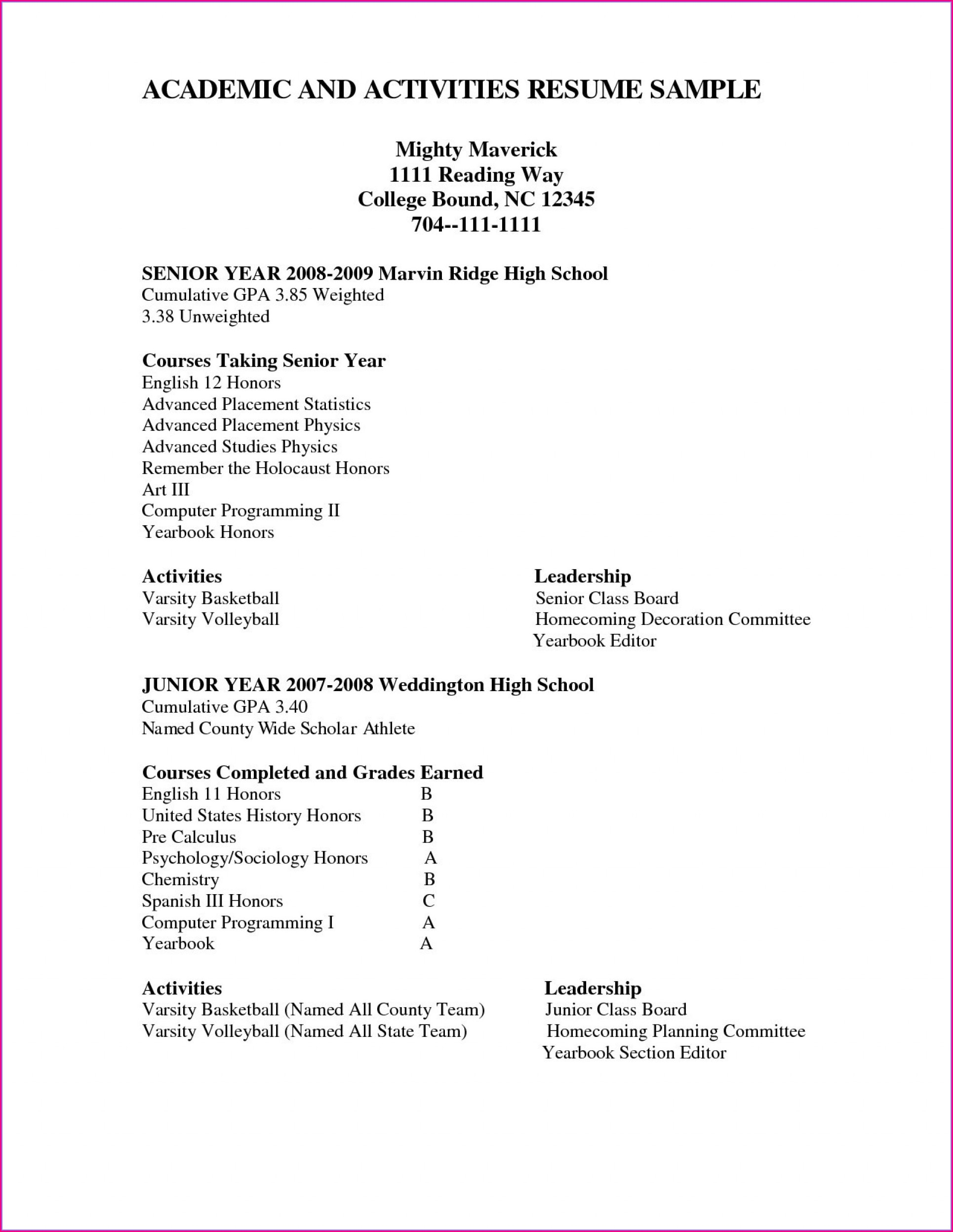 High School Resume Template For College Admissions
