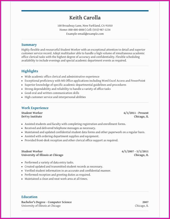 High School Resume Template Microsoft Word