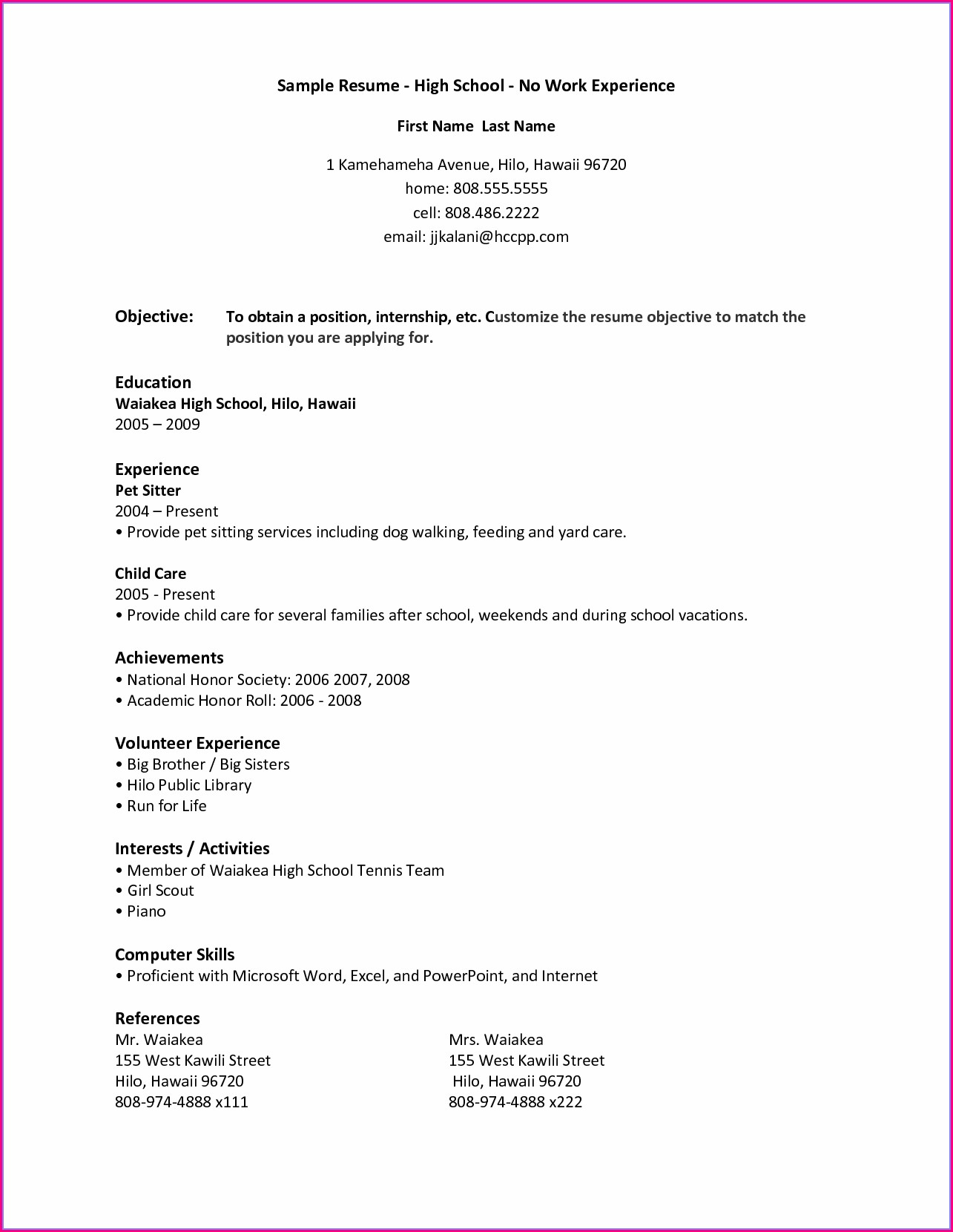 High School Resume Template Pdf