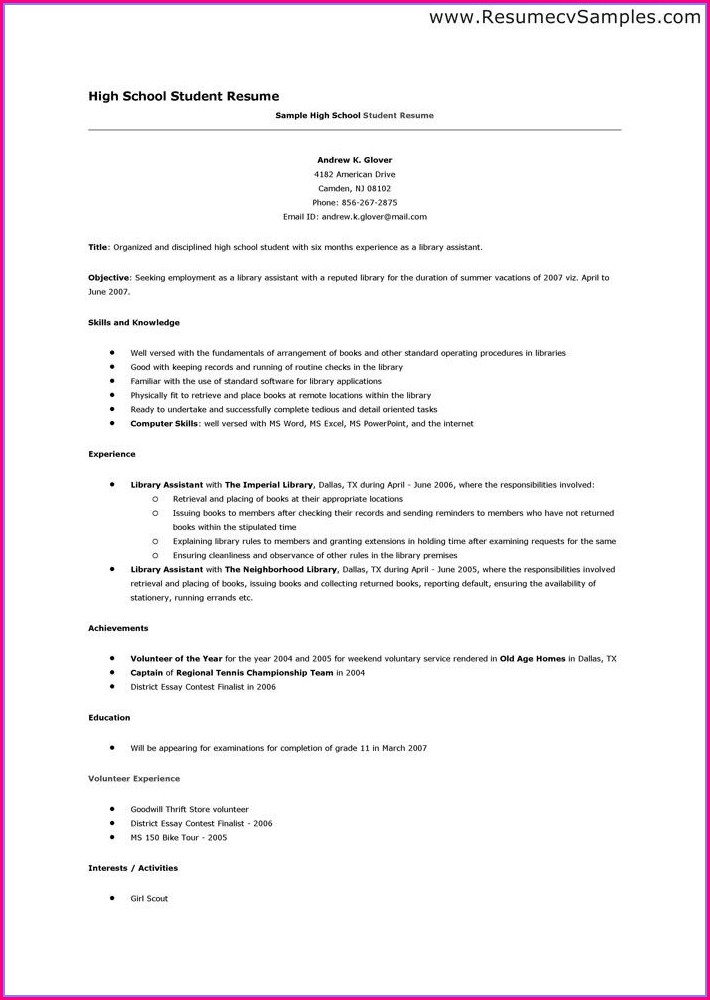 High School Resume Template Word