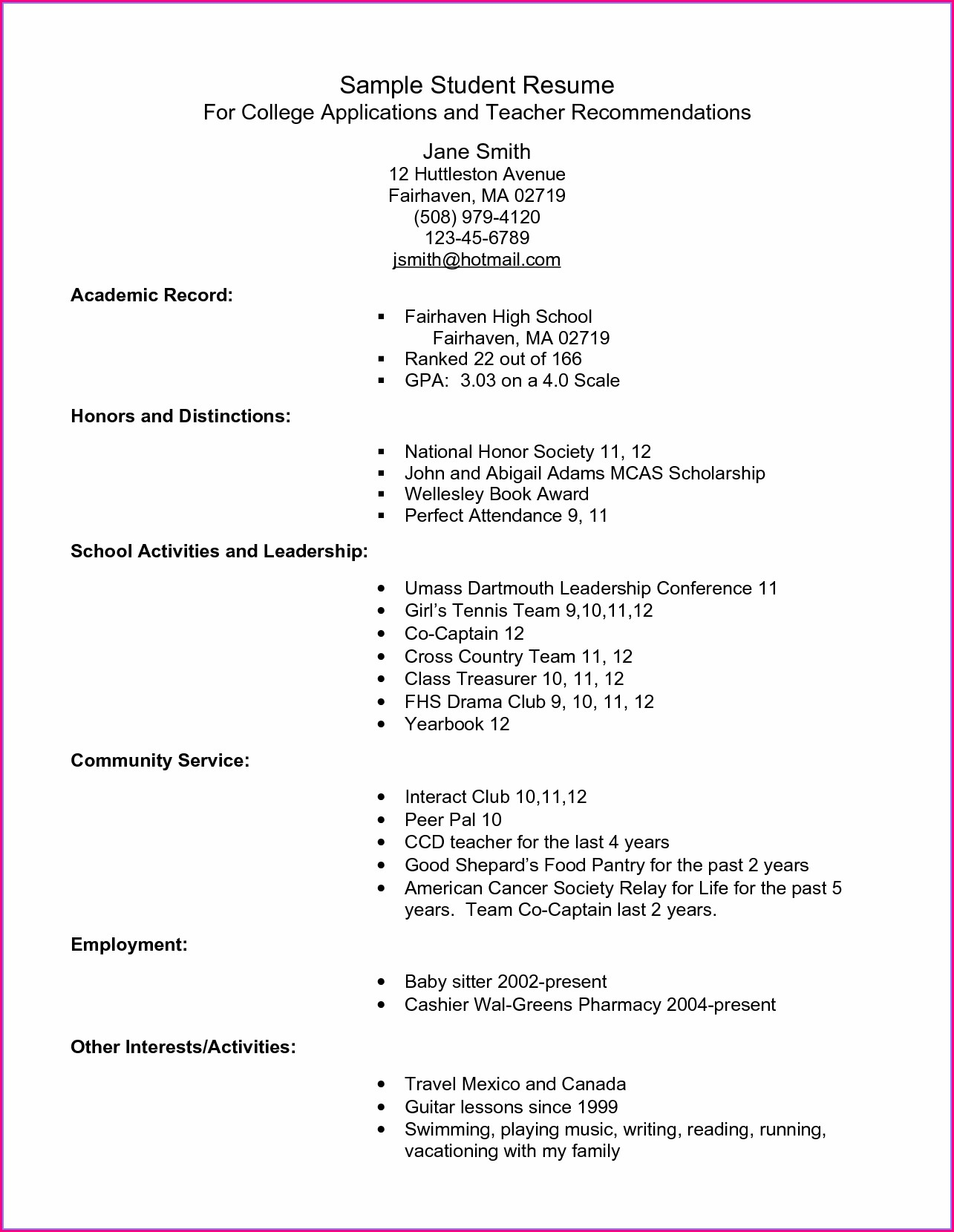 High School Student Resume Template For College Student