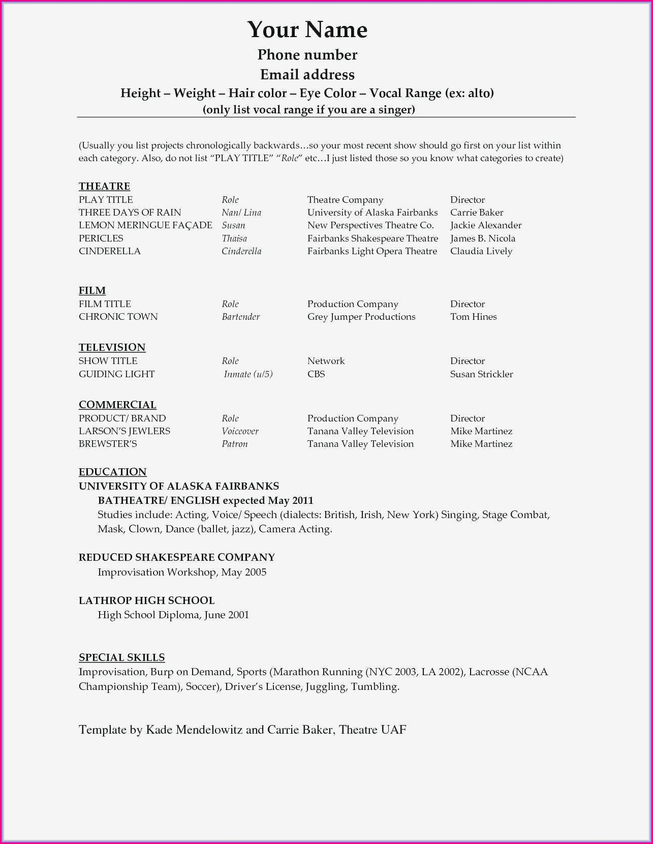 High School Student Resume Template Free