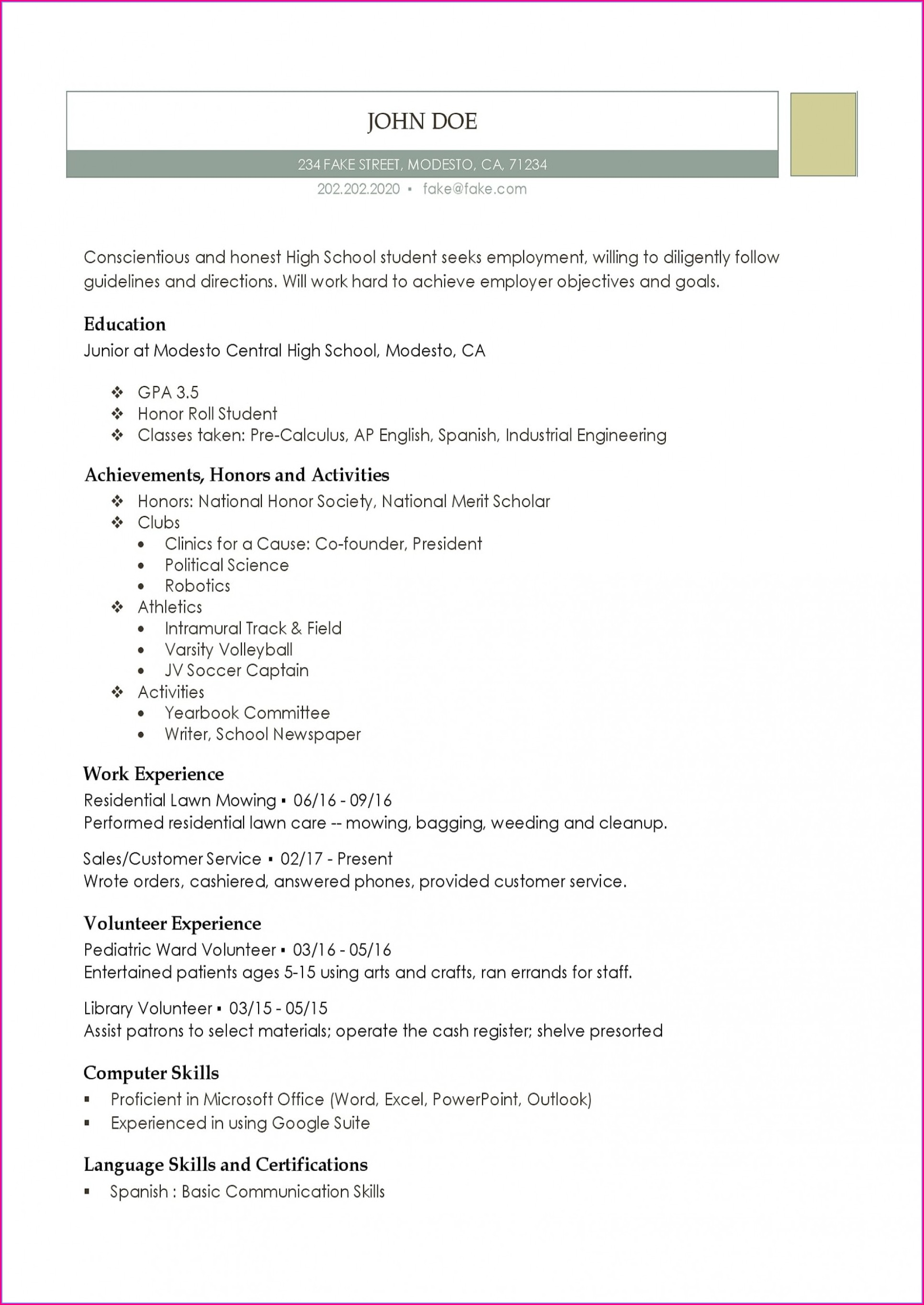 High Schooler High School Resume Template Pdf