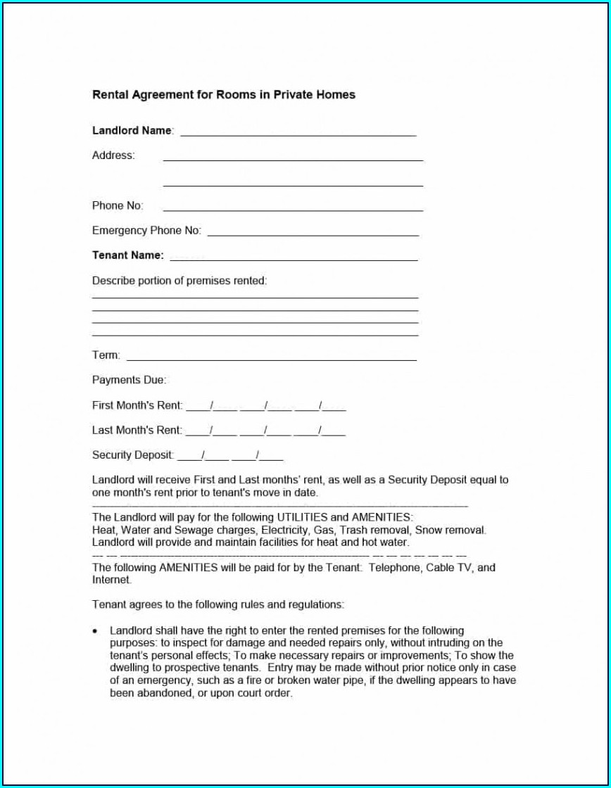 House Rental Agreement Template Word Doc