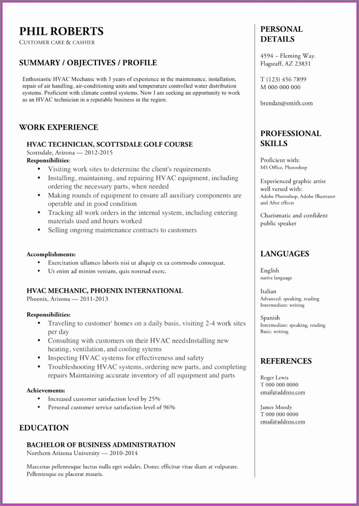Hvac Maintenance Technician Resume Pdf