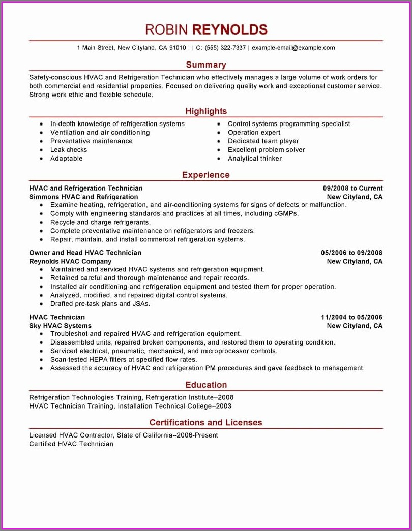 Hvac Maintenance Technician Resume