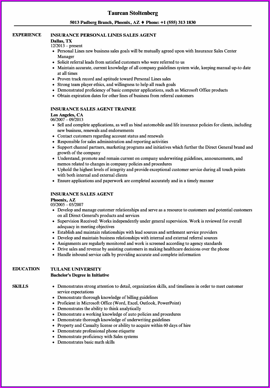 Independent Life Insurance Agent Resume