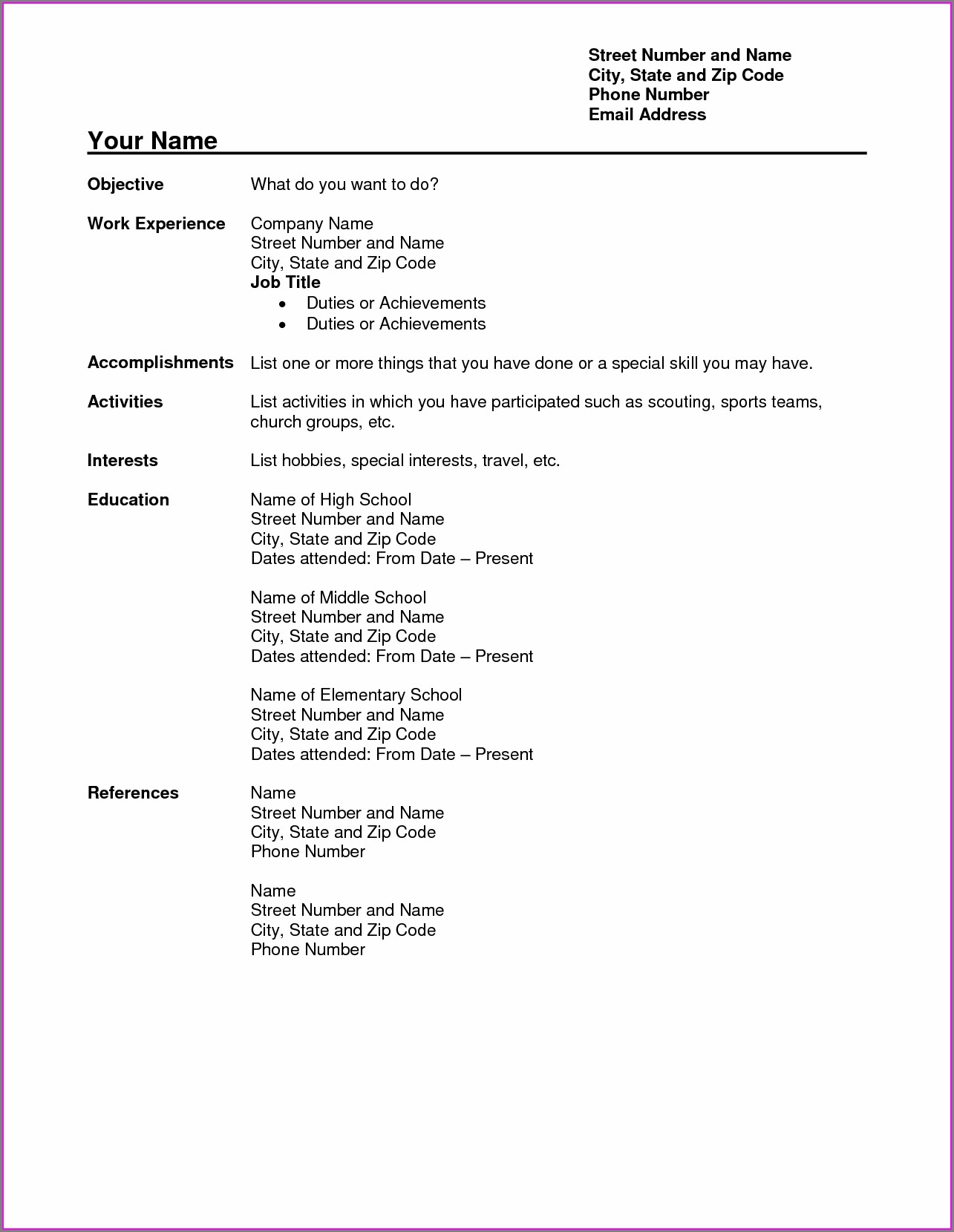 Indian Teacher Resume Templates Microsoft Word 2007