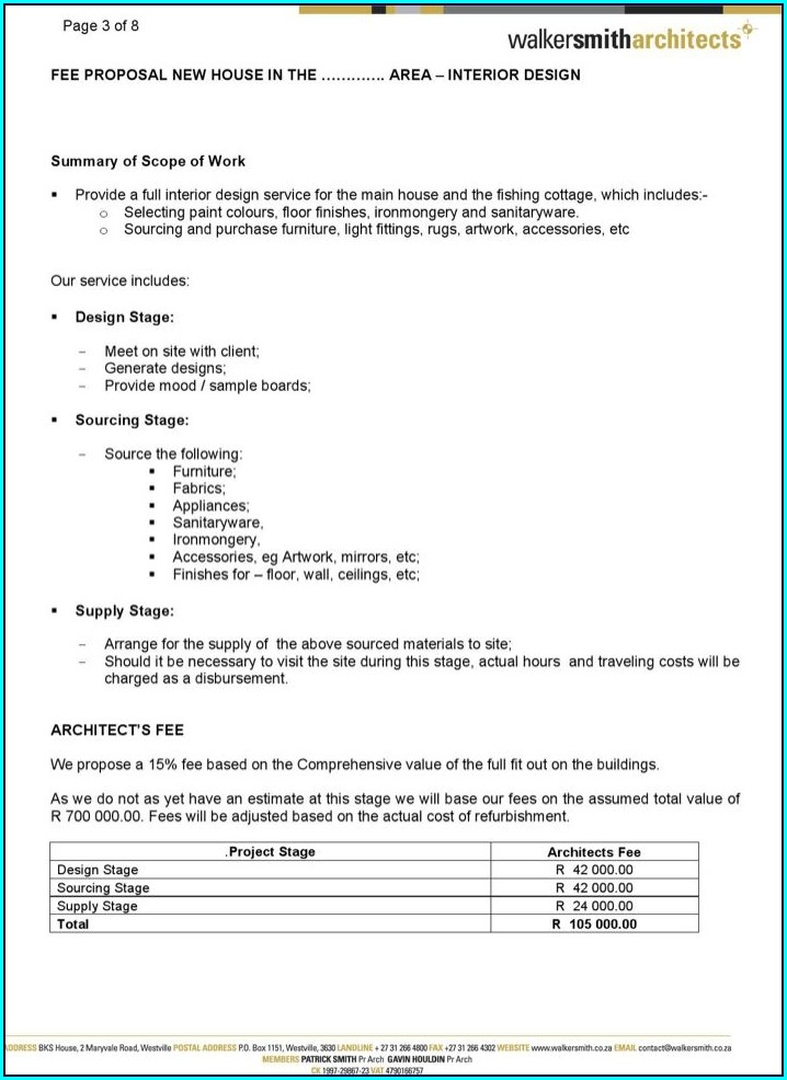 Interior Design Fee Proposal Template