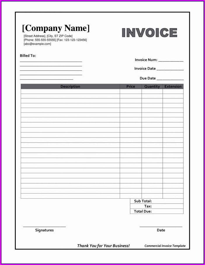 Invoice Blank Template Free