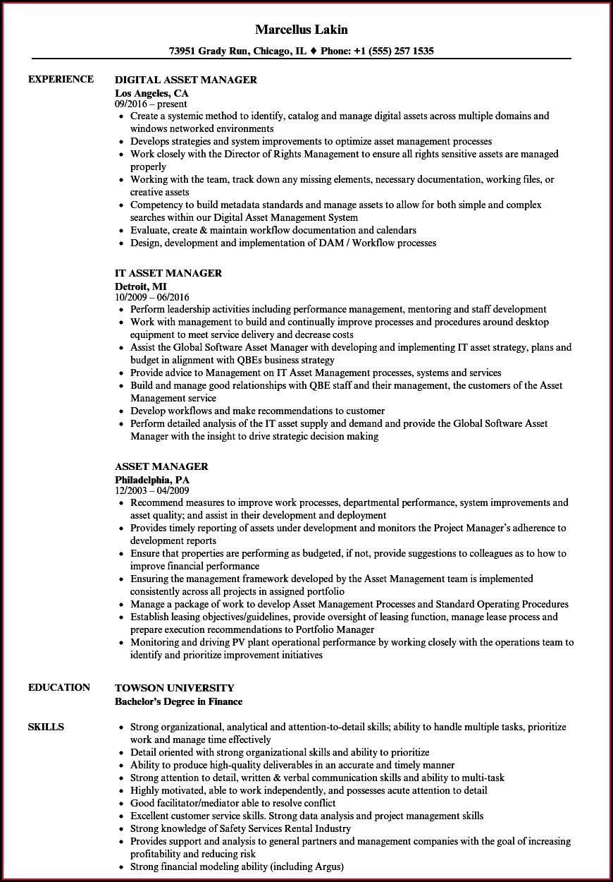 It Hardware Asset Management Resume Sample