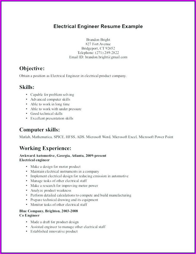 Iti Electrician Fresher Resume Format Free Download