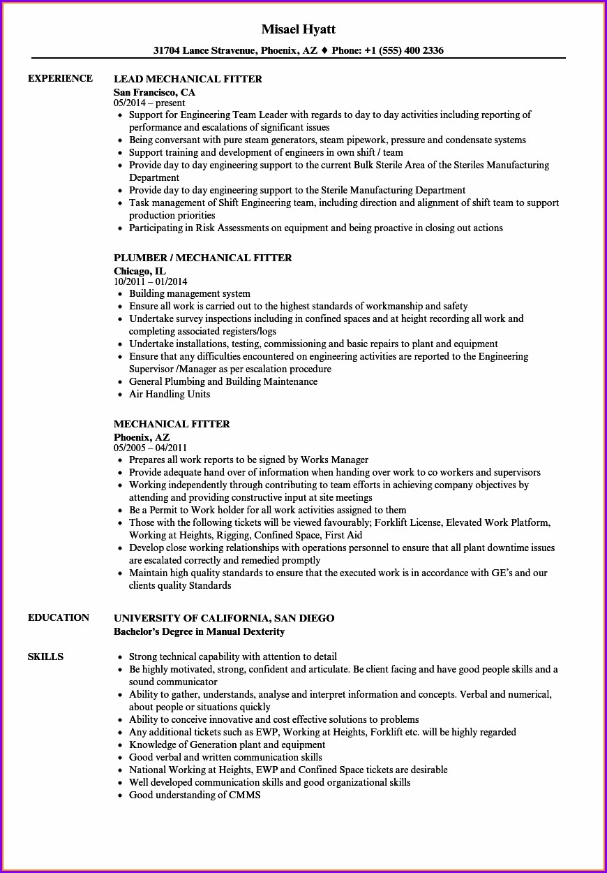 Iti Fitter Resume Format Pdf Download