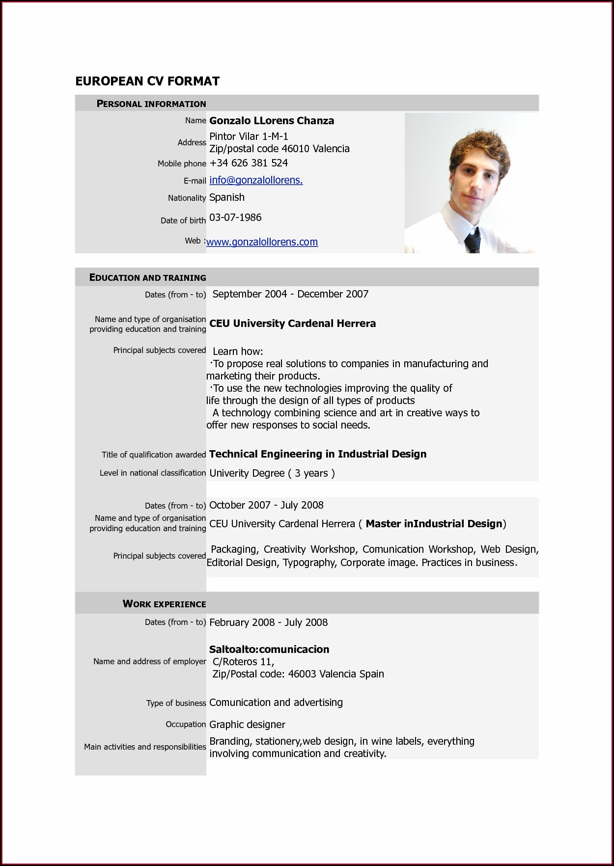 Job Application Pdf Curriculum Vitae Format Pdf Free Download