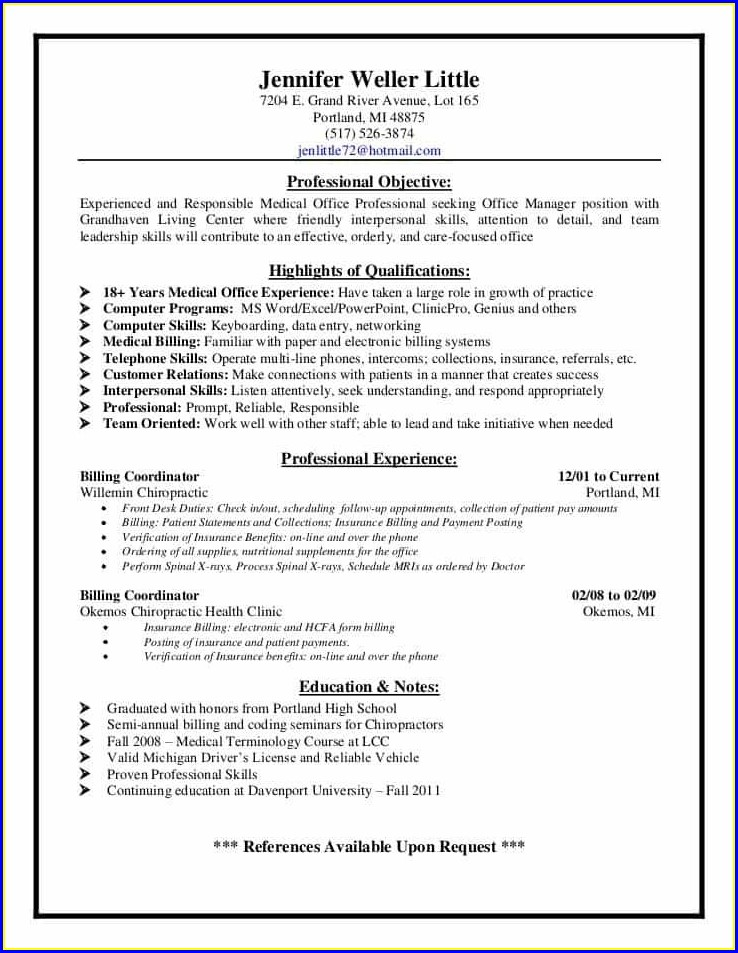 Job Resume For Medical Coding