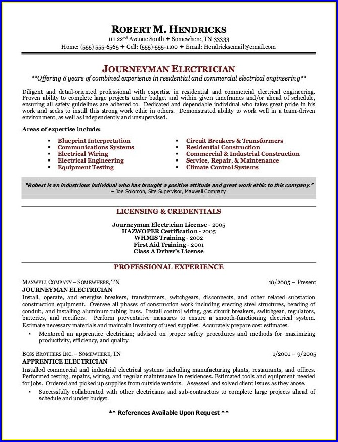 Journeyman Residential Electrician Resume Examples