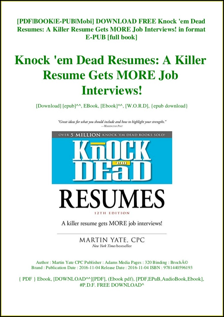 Knock Em Dead Resumes Free Download