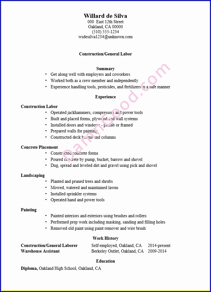 Laborer Sample Resume For Construction Worker