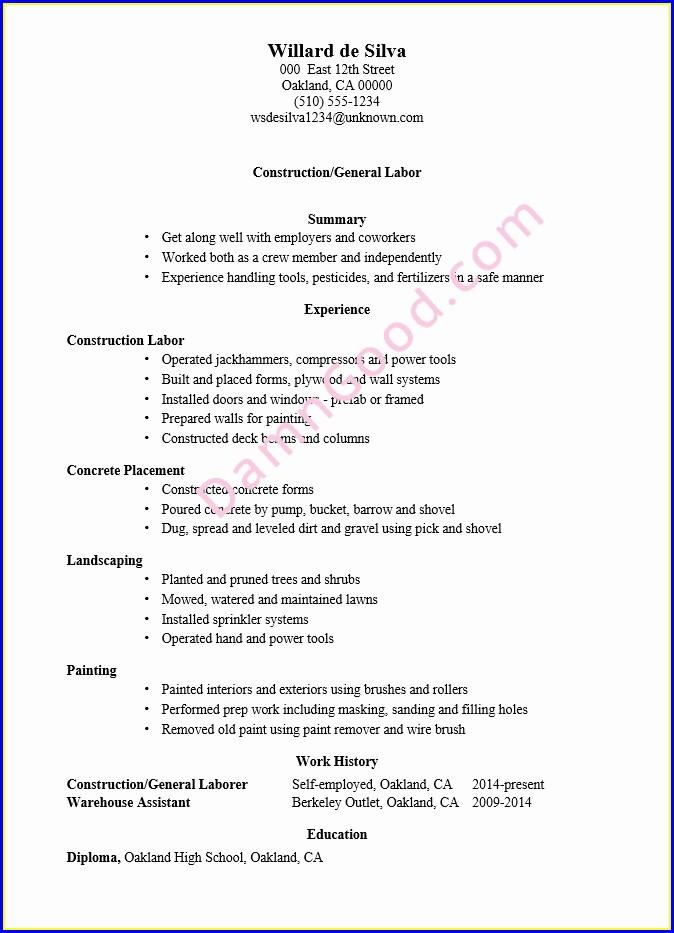 Laborer Sample Resume For Construction Worker
