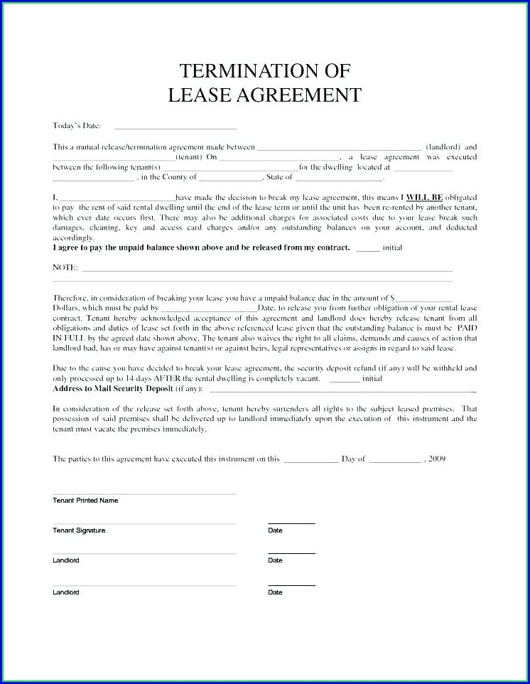 Landlord Early Termination Of Lease Agreement Template