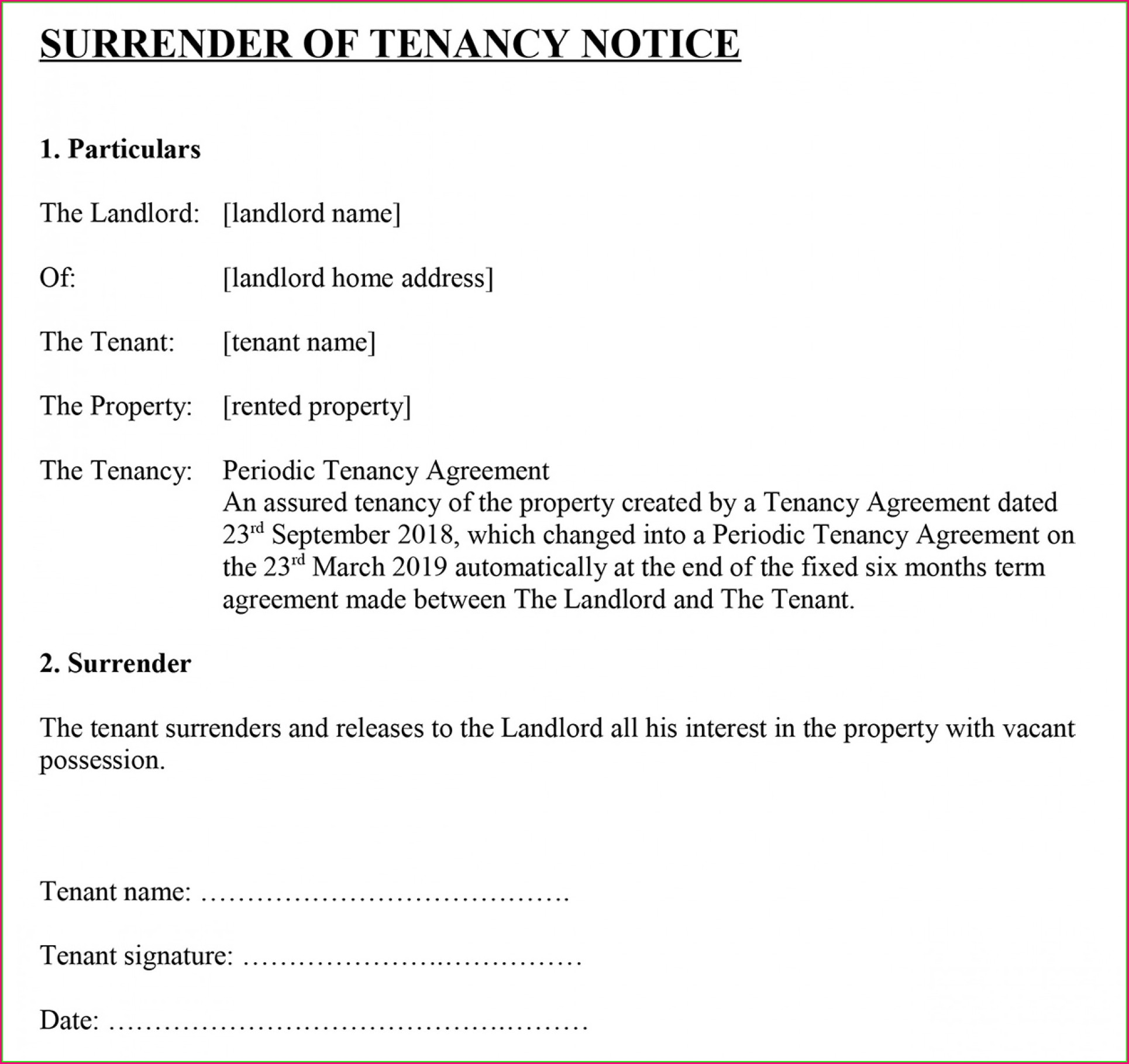 Landlord Eviction Notice Template Uk
