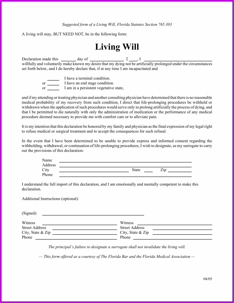 Last Will And Testament Template Florida Free